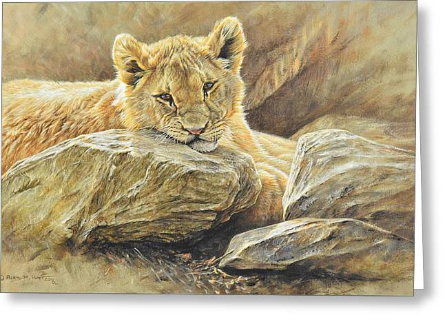 Greeting Card featuring the painting Lion Cub Study by Alan M Hunt