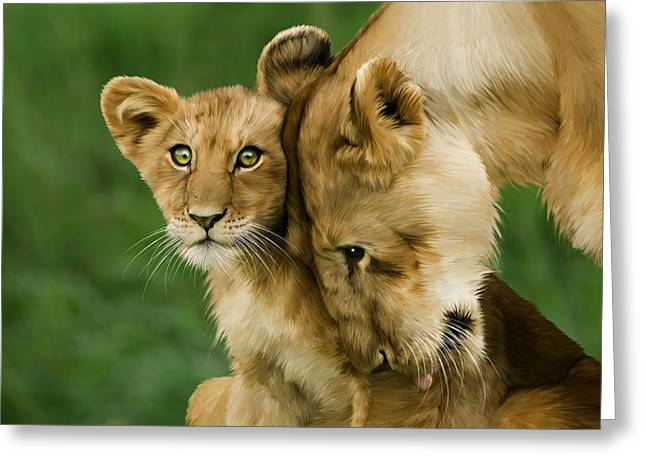 Lion Cub With Mother Greeting Card by Julie L Hoddinott