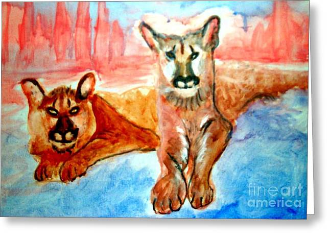 Lion Cubs Of Arizona Greeting Card