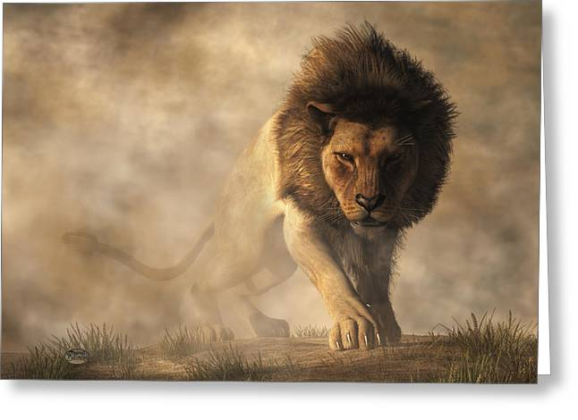 Lion Greeting Card by Daniel Eskridge