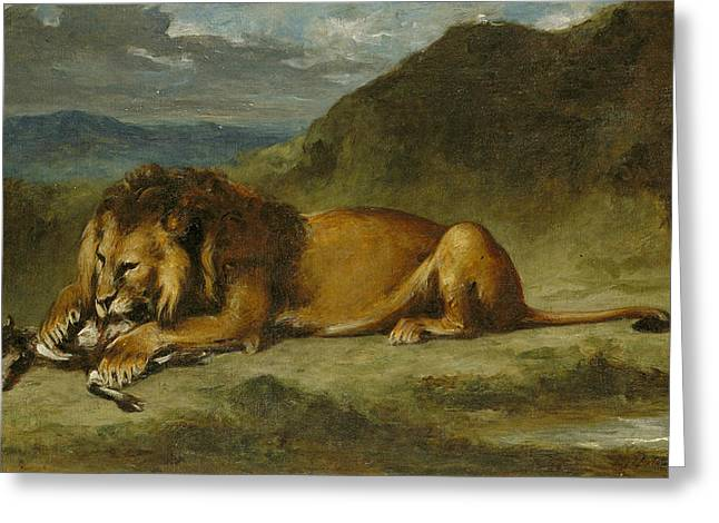 Lion Devouring A Goat Greeting Card by Eugene Delacroix