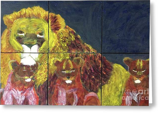 Greeting Card featuring the painting Lion Family by Donald J Ryker III