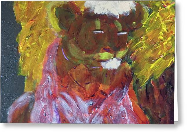 Greeting Card featuring the painting Lion Family Part 4 by Donald J Ryker III