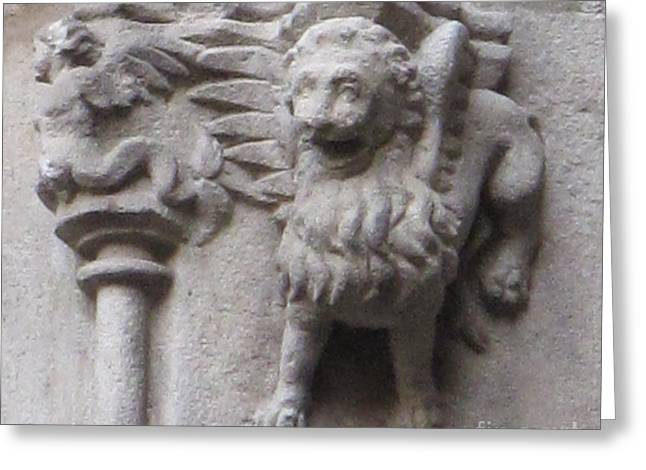Lion Gargoyle Barcelona Renaissance Greeting Card