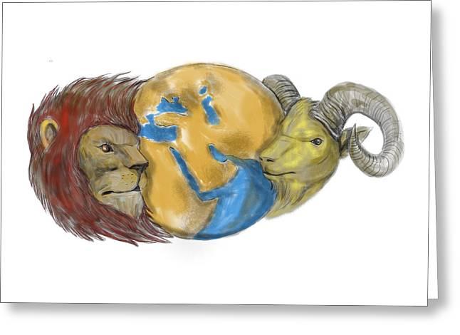 Lion Goat Head Middle East Globe Tattoo Greeting Card by Aloysius Patrimonio