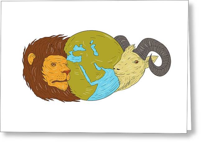 Lion Goat Head Middle East Map Globe Drawing Greeting Card by Aloysius Patrimonio
