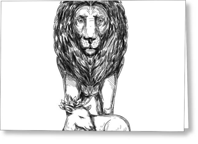 Lion Guarding Lamb Tattoo Greeting Card
