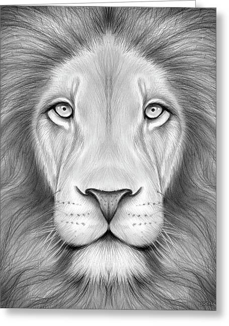 Lion Head Greeting Card by Greg Joens