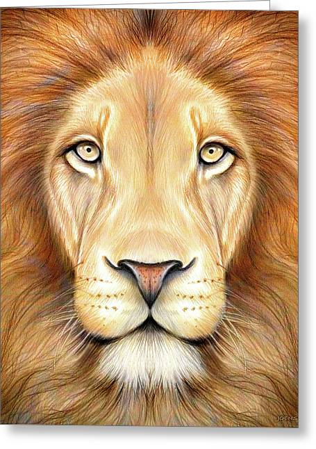 Lion Head In Color Greeting Card by Greg Joens