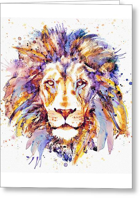 Lion Head Greeting Card by Marian Voicu