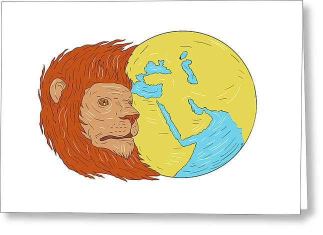 Lion Head Middle East Asia Map Globe Drawing Greeting Card by Aloysius Patrimonio