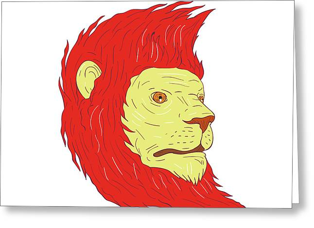 Lion Head With Flowing Mane Drawing Greeting Card by Aloysius Patrimonio