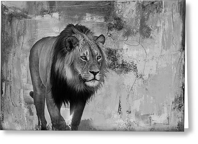 Lion Hunt 04 Greeting Card by Gull G