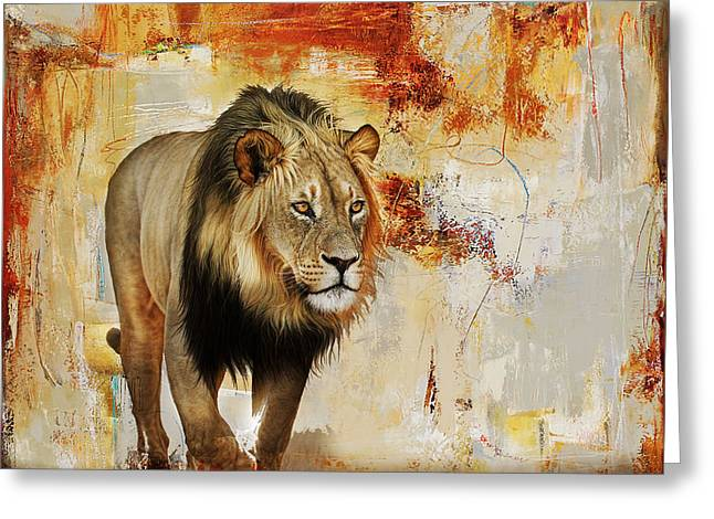 Lion Hunt  Greeting Card by Gull G