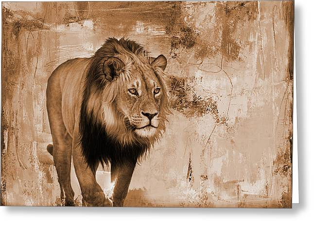 Lion Hunting  Greeting Card by Gull G