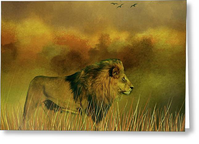Greeting Card featuring the photograph Lion In The Mist by Diane Schuster