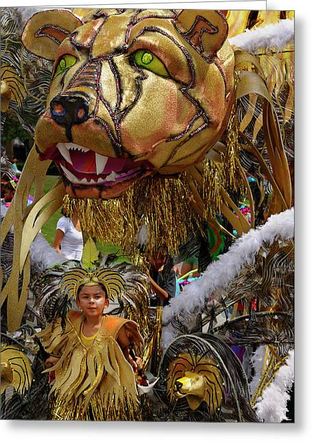Lion King Of The Band At The Junior Caribana Parade In Toronto 2 Greeting Card by Reimar Gaertner