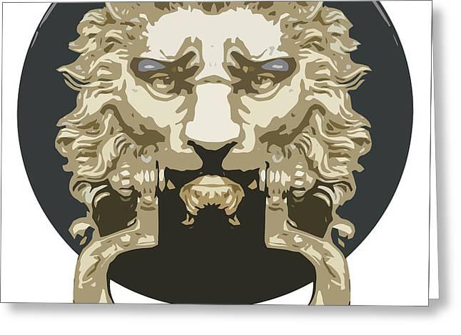 Lion Knocker Greeting Card by Greg Joens