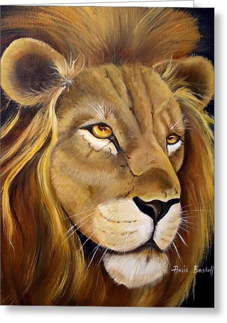 Lion Male Greeting Card by Ansie Boshoff