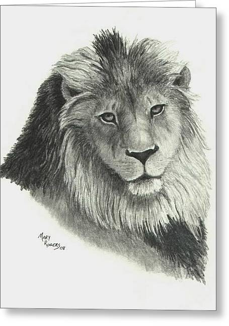 Lion Greeting Card by Mary Rogers
