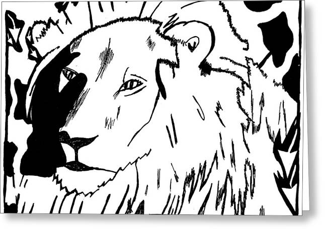 Lion Maze Greeting Card by Yonatan Frimer Maze Artist