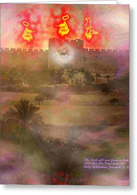 Greeting Card featuring the photograph Lion Of Judah At The Gate He Is Coming by Anastasia Savage Ealy