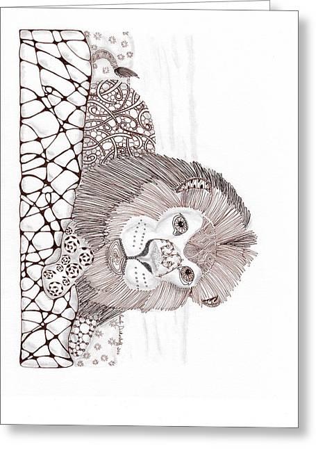 Lion Greeting Card by Paula Dickerhoff