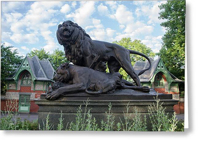 Lion Pride Statue At The Philadelphia Zoo Greeting Card