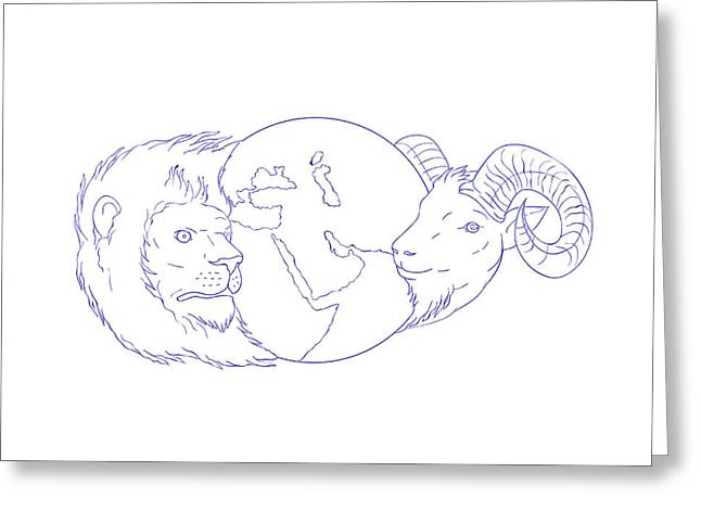 Lion Ram Globe Middle East Drawing Greeting Card by Aloysius Patrimonio