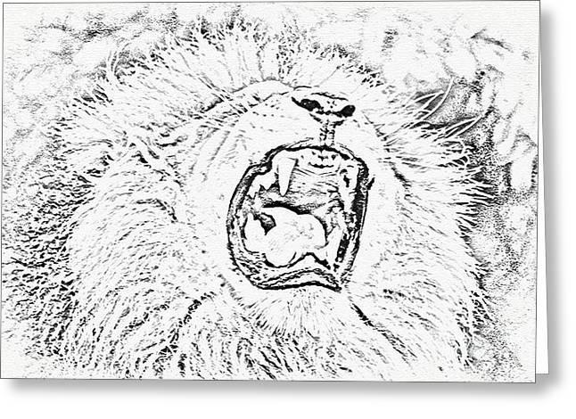 Lion Roar Drawing Greeting Card