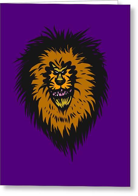 Lion Roar Purple Greeting Card