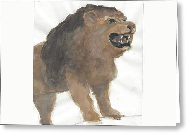 Lion Greeting Card by Robert Bowden