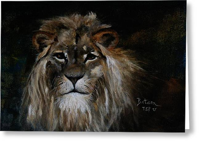 Sargas The Lion Greeting Card by Barbie Batson