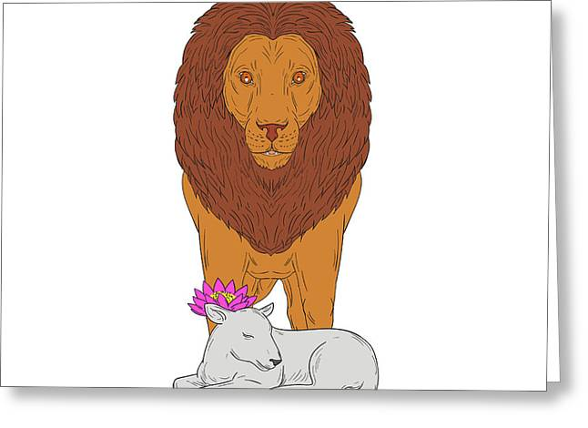 Lion Standing Over Lamb Lotus Flower Drawing Greeting Card