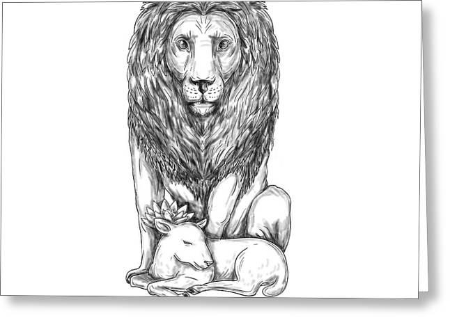 Lion Watching Over Lamb Tattoo Greeting Card by Aloysius Patrimonio