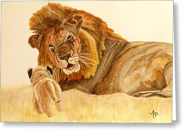 Lion Watercolor Greeting Card by Angeles M Pomata