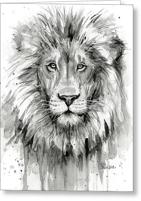 Lion Watercolor  Greeting Card by Olga Shvartsur
