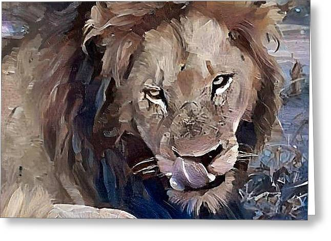 Lion With Tongue Greeting Card