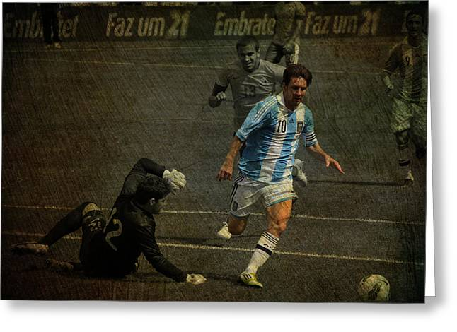 Givanildo Vieira De Souza Greeting Cards - Lionel Messi Breaking Raphael Cabrals Ankles  Greeting Card by Lee Dos Santos