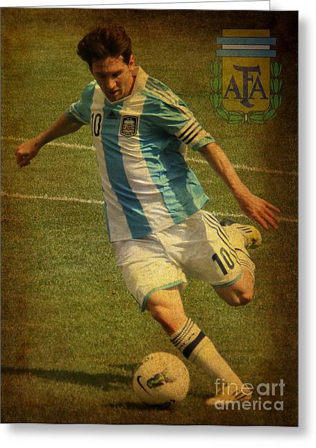 Lionel Messi Kicking Iv Greeting Card by Lee Dos Santos