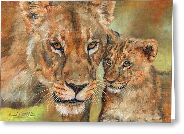 Lioness And Cub Greeting Card by David Stribbling