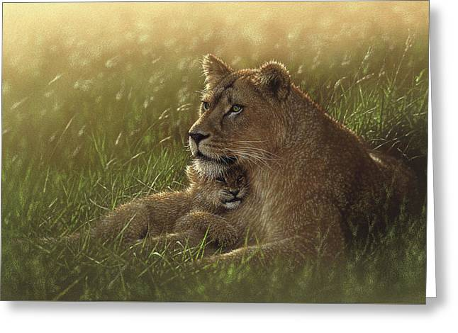 Lioness And Cub - Safe Haven Greeting Card