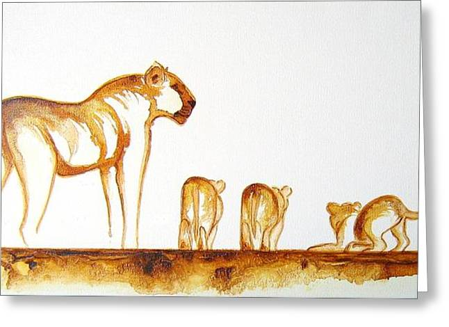 Lioness And Cubs Small - Original Artwork Greeting Card