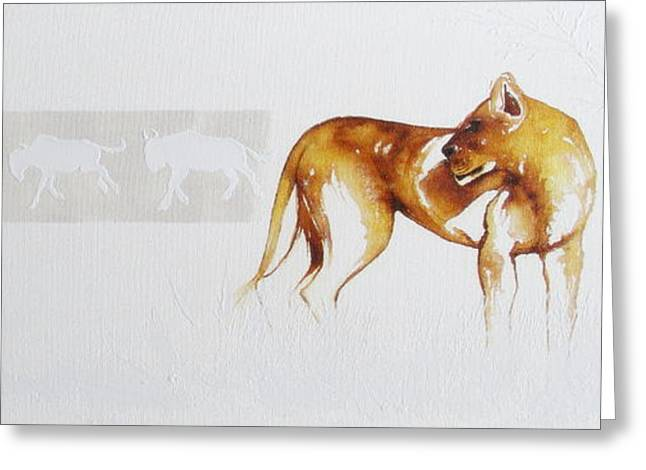 Lioness And Wildebeest Greeting Card