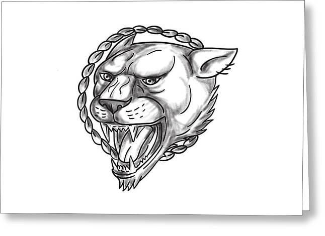 Lioness Growling Rope Circle Tattoo Greeting Card