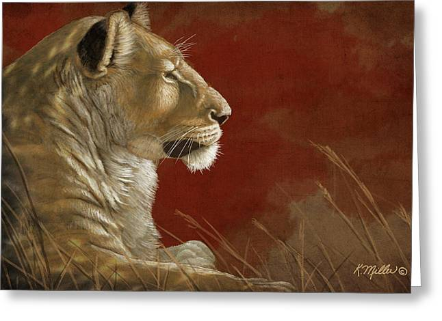 Lioness In The Shade Greeting Card by Kathie Miller