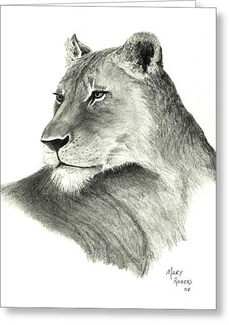 Lioness Greeting Card by Mary Rogers