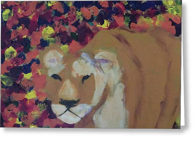 Greeting Card featuring the painting Lioness Pride 1 Of 6 by Donald J Ryker III