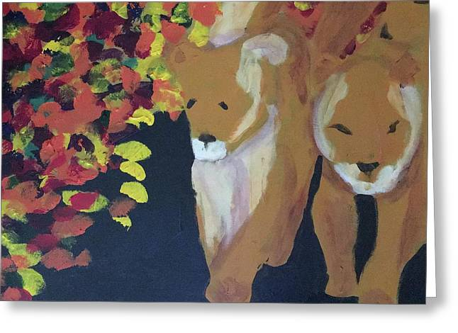 Greeting Card featuring the painting Lioness' Pride 4 Of 6 by Donald J Ryker III