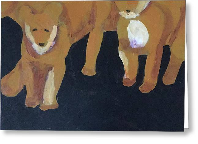 Greeting Card featuring the painting Lioness' Pride 5 Of 6 by Donald J Ryker III